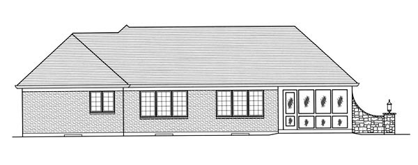 Traditional Rear Elevation of Plan 50069