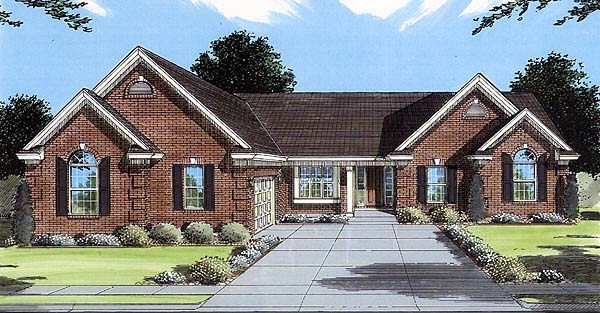 One-Story, Traditional House Plan 50075 with 3 Beds , 2 Baths , 2 Car Garage Elevation