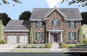 House Plan 50079 | Colonial Southern Style Plan with 2773 Sq Ft, 4 Bedrooms, 3 Bathrooms, 2 Car Garage Elevation