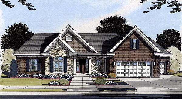 Bungalow , Country , Traditional House Plan 50086 with 3 Beds, 2 Baths, 3 Car Garage Elevation