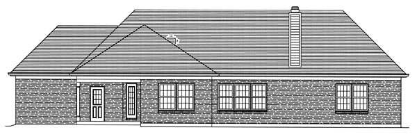 Bungalow , Country , Traditional House Plan 50086 with 3 Beds, 2 Baths, 3 Car Garage Rear Elevation