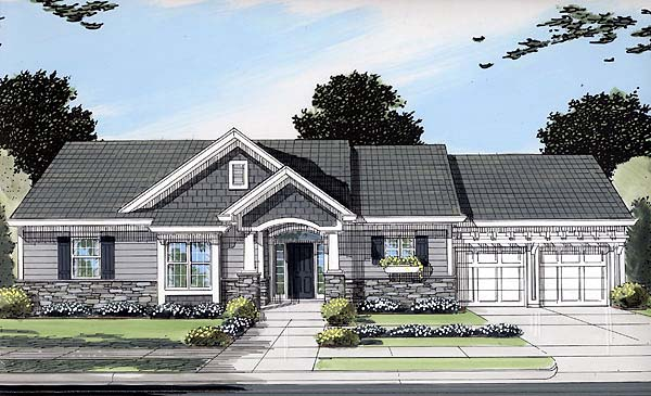 Bungalow Craftsman One-Story Ranch Elevation of Plan 50089