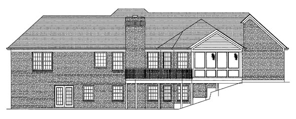 Traditional Rear Elevation of Plan 50091