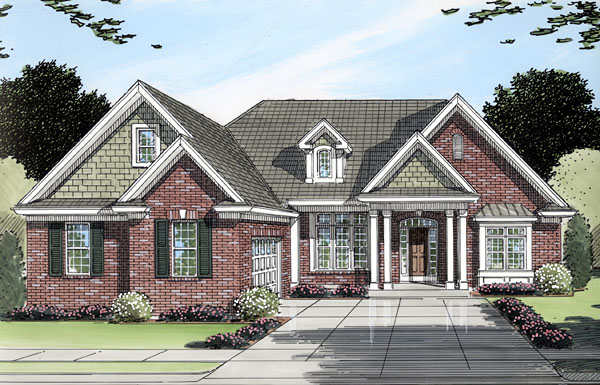 Ranch House Plan 50092 with 3 Beds, 2 Baths, 2 Car Garage Elevation