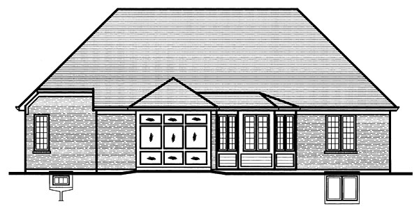 Ranch House Plan 50092 with 3 Beds, 2 Baths, 2 Car Garage Rear Elevation