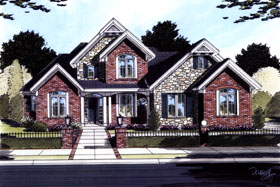 House Plan 50096 | Style Plan with 2500 Sq Ft, 4 Bedrooms, 3 Bathrooms, 2 Car Garage Elevation