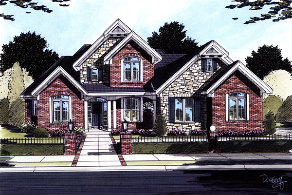 House Plan 50096 with 4 Beds , 3 Baths , 2 Car Garage Elevation