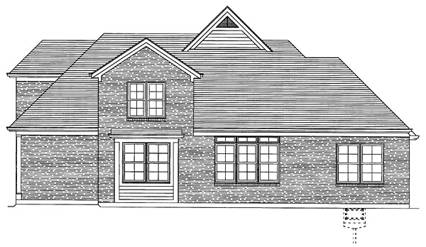 House Plan 50096 with 4 Beds , 3 Baths , 2 Car Garage Rear Elevation