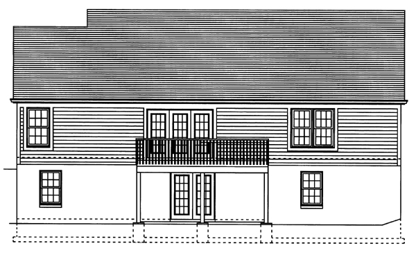 One-Story, Ranch House Plan 50098 with 3 Beds, 2 Baths, 2 Car Garage Rear Elevation