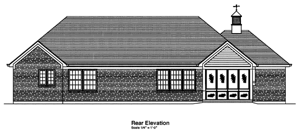 House Plan 50100 | Ranch Southern Style Plan with 1824 Sq Ft, 3 Bedrooms, 2 Bathrooms, 2 Car Garage Rear Elevation
