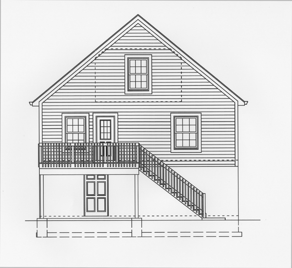 Narrow Lot Southern Rear Elevation of Plan 50101