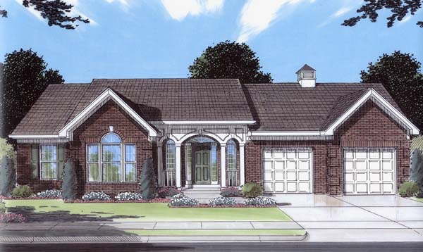 Ranch House Plan 50104 with 3 Beds, 2 Baths, 2 Car Garage Elevation