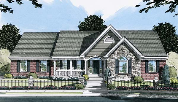 Country One-Story Southern Elevation of Plan 50105