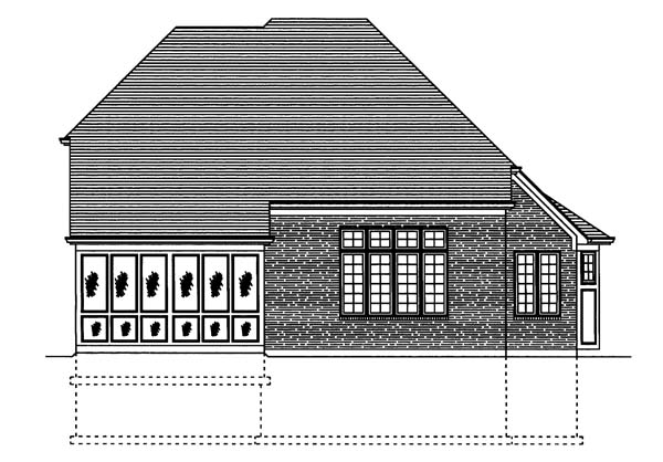 Narrow Lot Traditional Rear Elevation of Plan 50115