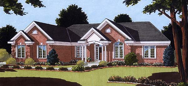 Ranch House Plan 50120 with 2 Beds, 2 Baths, 2 Car Garage Elevation