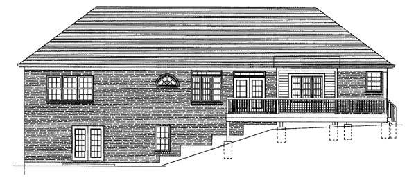 Ranch House Plan 50120 with 2 Beds, 2 Baths, 2 Car Garage Rear Elevation