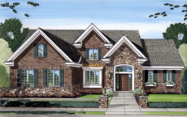 House Plan 50129 with 4 Beds, 3 Baths, 2 Car Garage Front Elevation