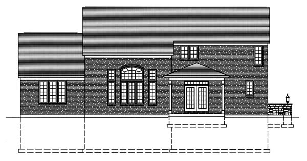 House Plan 50129 with 4 Beds , 3 Baths , 2 Car Garage Rear Elevation