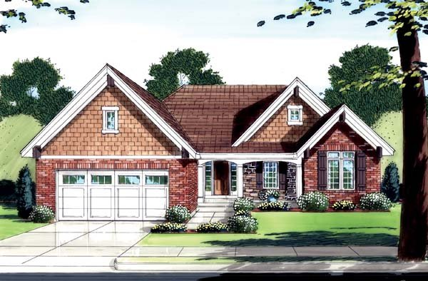 House Plan 50130 with 3 Beds, 2 Baths, 2 Car Garage Elevation