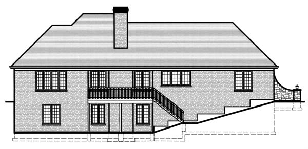 House Plan 50132 | Ranch Style Plan with 2957 Sq Ft, 3 Bedrooms, 3 Bathrooms, 2 Car Garage Rear Elevation