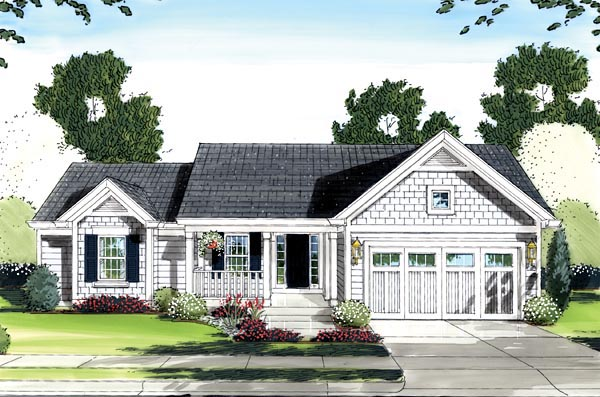 House Plan 50136 with 3 Beds, 2 Baths, 2 Car Garage Elevation