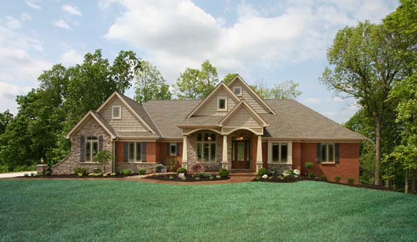 Brick Stone Elevation Homes : Craftsman house plan