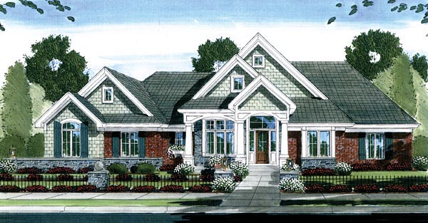 Craftsman House Plan 50138 with 4 Beds, 3 Baths, 3 Car Garage Picture 1