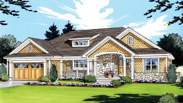 Craftsman House Plan 50139 with 3 Beds, 2 Baths, 2 Car Garage Elevation
