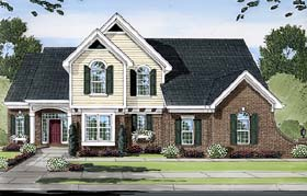 House Plan 50143 | Style Plan with 2284 Sq Ft, 4 Bedrooms, 3 Bathrooms, 3 Car Garage Elevation
