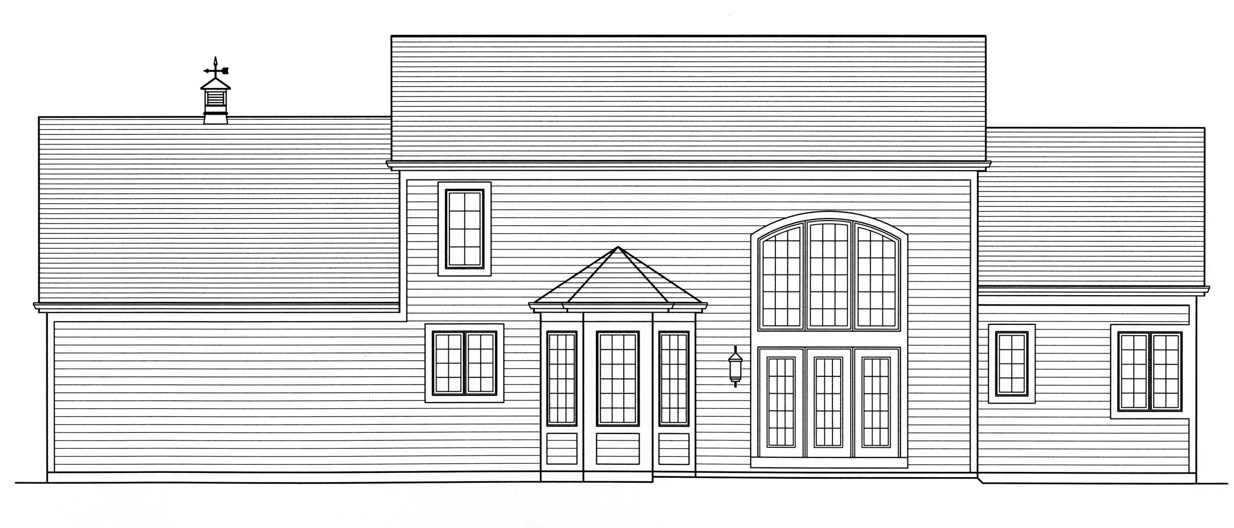 European House Plan 50144 Rear Elevation
