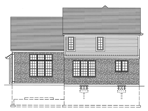 Traditional Rear Elevation of Plan 50147