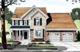 House Plan 50148 | Country Traditional Style Plan with 2454 Sq Ft, 4 Bedrooms, 3 Bathrooms, 2 Car Garage Elevation