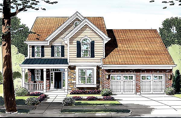 Country, Traditional House Plan 50148 with 4 Beds, 3 Baths, 2 Car Garage Elevation