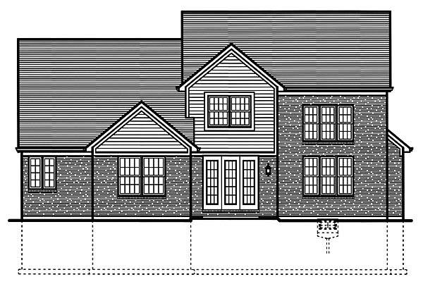 Country, Traditional House Plan 50148 with 4 Beds, 3 Baths, 2 Car Garage Rear Elevation