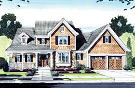 House Plan 50150 | Craftsman Style Plan with 2108 Sq Ft, 4 Bedrooms, 3 Bathrooms, 2 Car Garage Elevation