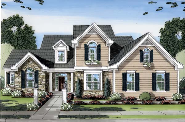 Traditional House Plan 50152 with 4 Beds, 4 Baths, 3 Car Garage Elevation