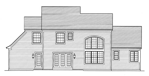 Traditional House Plan 50152 with 4 Beds, 4 Baths, 3 Car Garage Rear Elevation