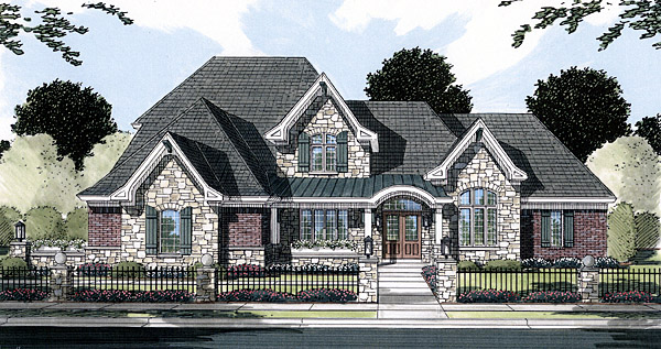 European Southern House Plan 50154 Elevation