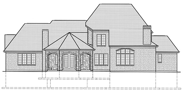 European Southern House Plan 50154 Rear Elevation
