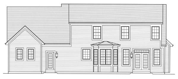 Cape Cod Rear Elevation of Plan 50157