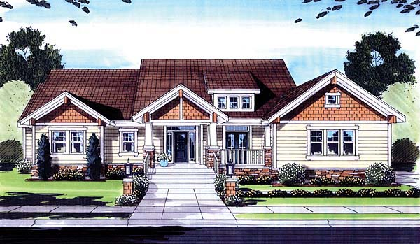 Craftsman House Plan 50159 with 3 Beds, 2 Baths, 3 Car Garage Elevation