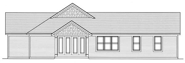 Craftsman House Plan 50160 with 3 Beds, 2.5 Baths, 3 Car Garage Rear Elevation