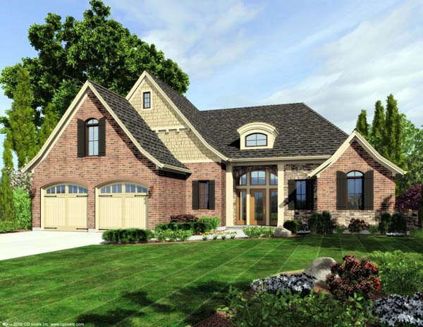 European House Plan 50166 with 3 Beds, 3 Baths, 2 Car Garage Elevation