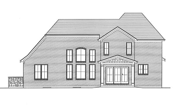 European House Plan 50166 with 3 Beds, 3 Baths, 2 Car Garage Rear Elevation