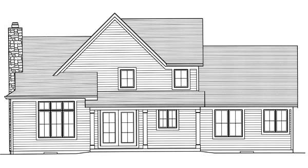 European House Plan 50168 Rear Elevation