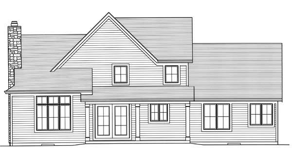 European House Plan 50168 Rear Elevation
