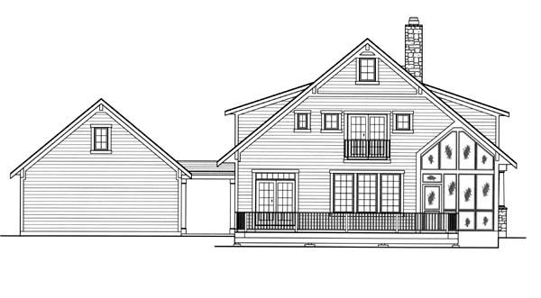 House Plan 50170 | Cottage Style House Plan with 1748 Sq Ft, 3 Bed, 3 Bath, 2 Car Garage Rear Elevation