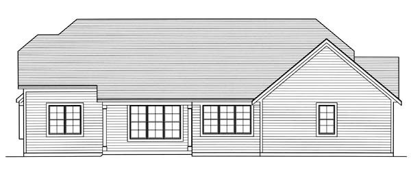 Craftsman Ranch Rear Elevation of Plan 50171
