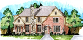 Tudor House Plan 50175 with 4 Beds, 4 Baths, 2 Car Garage Elevation