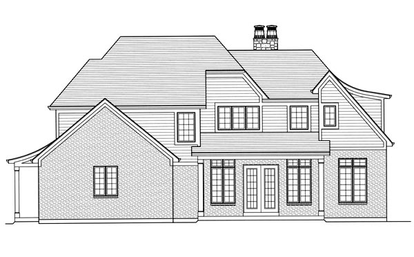 Tudor House Plan 50175 with 4 Beds, 4 Baths, 2 Car Garage Rear Elevation